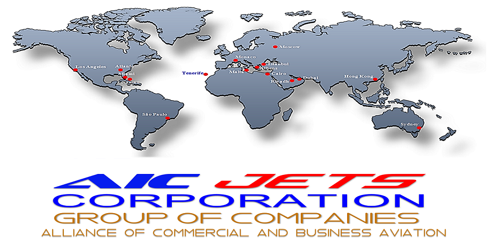 AIC JETS Corporation Partners and Offices Map | AIC JETS Corporation - Group of Companies | Private Jet Broker | Aircraft Dealer and Broker | Commercial Aircraft Broker and Dealer