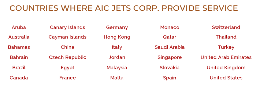 AIC JETS Corporation provide services around the world | AIC JETS Corp. - Group of Companies | Private Jet Broker | Aircraft Dealer and Broker | Commercial Aircraft Broker and Dealer